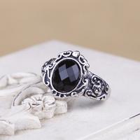 2 pcs/lot Euro Retro Style Black Imitated Diamond Luxury Rose Carving Rings for Men Women Lady Girls