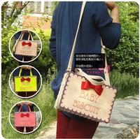2014 bow biscuits bag handbag cross-body women's HARAJUKU crossbody handbag