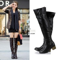 Fashion Women's Metal Buckle PU Leather Over The Knee High Flat Boots Shoes 9509
