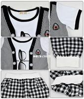 2014 New Kids Boys summer set Children's Suit Set Glasses Pattern False Two-piece Short Sleeve T-Shirt + Pants 5 sizes 17924