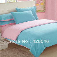 pink blue Brushed fabric plain 4pcs bedding set/solid bedclothes/pure duvet covers/bed sheet/bed linens textile#03+free shipping