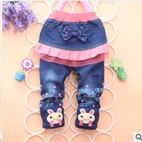 Free shipping Grils Pants New 2013 Autumn-Winter Grils Skirts Jeans Fashion Baby Pants with Skirts Trousers B017