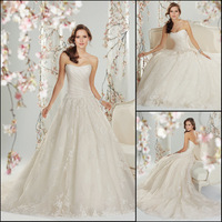Custom Make High Quality Elegant A-line White/ivory Strapless Embroidery Organza Wedding Dress Bridal Gowns 2014 New Arrival