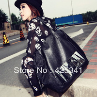 2013 spring and summer fashion street fashion women's handbag metal paillette casual big bags female shoulder bag black