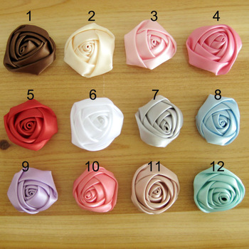 3.5-4CM Mini Satin Rosettes Rose Flowers Accessories Wholesale 200PCS 12 Great Colors Free Shipping