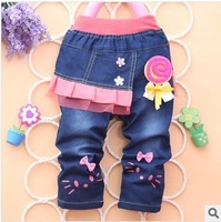 Free Shipping Baby Girls Skirts 2013 New Autumn-Winter Girls Baby Jeans Girls Kids Skirts Pants B018