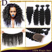Malaysian Deep Wave,1pc Free Part Lace Closure With 3Pcs Hair Bundles,4pcs/lot Malaysian Virgin Hair Extension,Human Hair Weave