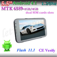 "2PCS Quard Core 5.5"" MTK 6589 1.2GHz 1G/4G Android 4.2.1 Bluetooth+GPS+3G Smart Phone Free Shipping"
