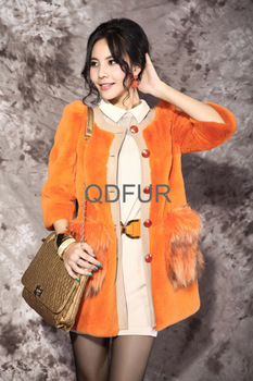2013 Autumn and Winter Women's Natural Rex Rabbit Fur Coats Raccoon Fur Pocket O-Neck Female Slim Outerwear  QD28331