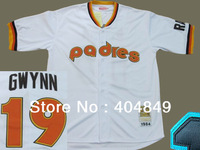 AA+ 19 multi type Tony Gwynn jersey, Padres white stripe brown black authentic throwback,custom baseball free shipping.