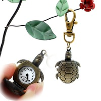 Free shipping, Antique alloy Turtle quartz movement key chain watch wholesale, keychain watch wholesale