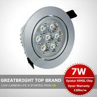 6pcs/lot 7W  led recessed ceiling light downlight  85V-245V 110v 220v 240v 3year warranty : TFA07
