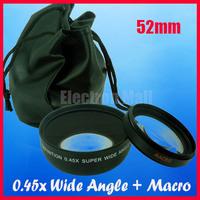52MM 0.45x Wide Angle Lens + Macro Lens for Nikon DSLR Camera D3100 D3200 D80 D90 D5000 D5100 D7000 D40 D60 , Free Shipping!!