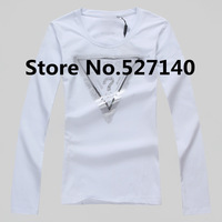2013 summer cool new high-quality cotton Lycra Sequin ladies long sleeved T-shirt