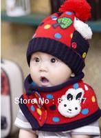 Special Offers! hot children hat 100% wool hat+scarf two piece set Rabbit cap children animal cap Warm winter Christmas  Gift