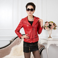 women designer 2013 autumn and winter brand counter genuine fashion leather jacket lapel locomotive plus size outerwear coat