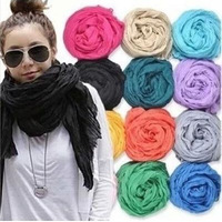 2013 Winter American and Europe hottest women fashion solid cotton voile warm soft silk scarf shawl cape 20 colors available