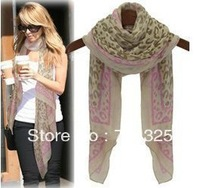 Free Shipping Fashion Women Long silk Pashmina Scarf With Leopard Print Mini.Order Is $9(Mix Order)