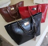 Mng new arrival mango fashion normic mango brief soft leather shoulder bag handbag shoulder strap rivet decoration women bag