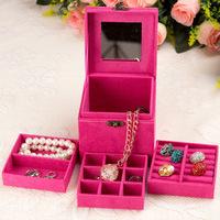 Free shipping  three- velvet jewelry box jewelry box Cosmetic multicolor    M139