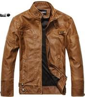 2014 new fashion brand motorcycle genuine leather clothing ,men's leather jacket, Free Shipping