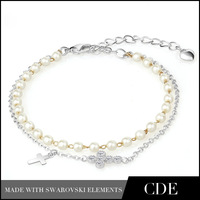Free shipping CDE 2013 Fashion Zircon Pearl Bead Chain Cross Crucifix Bracelet Austrian Crystal B0042B