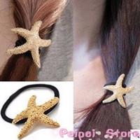 Min order $10 Hot new fashion 2015 Retro Starfish star gold silver hair ring hair rope hair accessories for women