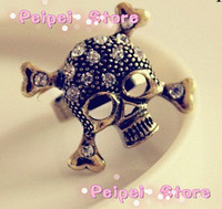 Min order $ 10 free shipping Fashion jewelry retro pop vintage  accessories punk skull ring finger ring opening