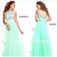 free shipping vestidos dress long 2015 new gown Mint Blue Beaded Chiffon custom handmade bow Graduation simple Homecoming Dress