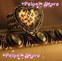 fashion jewelry retro pop Vintage leopard print peach heart elastic vintage ring Free shipping