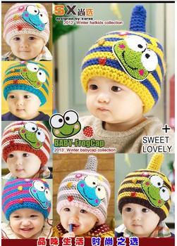 new 2013 Stripe cartoon frog sport autumn -summer winter cap for children caps baby supernova sale earmuffs cap B39