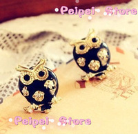 Min order $ 10 Vintage Jewelry Luxury Pendant Fashion accessories cutout oil owl stud earring free shipping