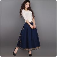 [LYNETTE'S CHINOISERIE - YHT ] Spring Plus Size Women Ethnic Style Vintage Print Patchwork A-line Skirt Sz S M L XL XXL XXXL