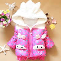 Wholesale New 2013 winter jacket Free shipping Fashion Polka Dot two bunny girls children winter jacket outerwear