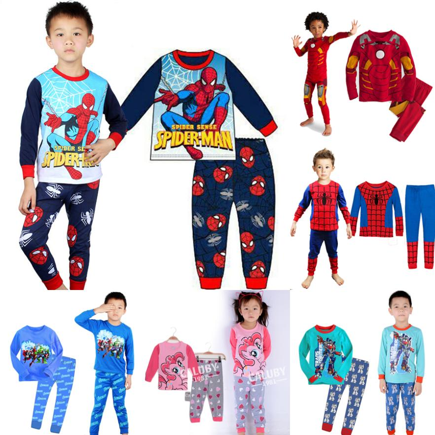 cartoon toddler baby kids pajama sets,long sleeve boys girls pajamas,cheap price children's sleepwear,retail child clothing set(China (Mainland))