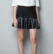 Das Ophira mulheres moda 2014 Outono Outono Brand Mini Faux Patchworking Couro Saia negócio PU Couro Saia Feminina de(China (Mainland))
