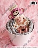 Free Shipping Girl Monkey Pattern Handmade Crochet baby hat Animal Shape Photography Props 1pcs Retail Baby Caps
