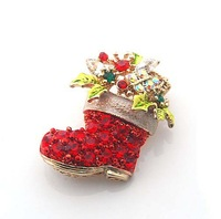 Christmas Gift Fashion Luxury Cute Sparking Red Rhinestone Gold color Christmas Boot Alloy Brooch CB06