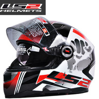 NEW TOP LS2 Dual Visor Fiber glass motorcycle off road Safe full face helmets racing Glare reducer helmet