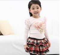 Autumn Children Topwear Beautiful Yarn Lovely Flower Pure Cotton Long Sleeve Girls T Shirt Baby Kids Tee Shirts 2-6Year TT383