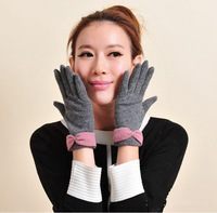 new arrival Women bowknot drove solid cashmere wool gloves fashion mitten free shipping ST6008