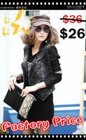 Free Shipping!2013 new autumn and winter women long-sleeve PU leather motorcycle coat jacket denim jacket supernova sale