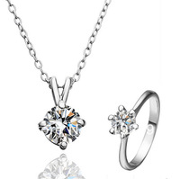 LS194 High Quality 18K White Gold / Platinum Plated Items Simulated Diamond Pendant Necklace Ring Women Jewelry Sets Accessories