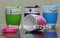 Free shipp!!!Crive animal cartoon mugs,Ceramic mug,Lovers cup,Insulated silicon coffee cup with pad,Beerbarrel cup