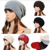 Knit Hat New 2014 1pcs,Korean version of popular folding cap,Winter hat,Fashionable men and women knitting wool cap,5color