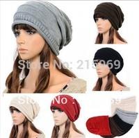 Knit Hat New 2014 1pcs,Korean version of popular folding cap,Winter hat,Fashionable men and women knitting wool cap,5color