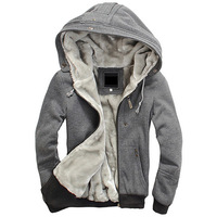 enlarge size M-4XL 6 colors, 2013 winter men's Hoodies Sweatshirts mens thicken wool lining with a hood jacket coat outerwear