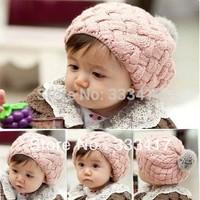 Toddler Infant Knit Crochet Beanie Winter Warm Hats Cute Girl Hats Children Accessories Caps Kids Cotton Hat 3 Colors[700027]