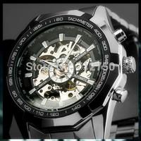 GAGA! 2014 Luxury brand WINNER Watch Men Luminous Skeleton Stainless Steel Mechanical Wristwatch Relogio Masculino Automatic