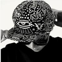 2013 September Newest Korean Stylish Black Personality Scrawl Baseball Cap Hip hop Street Dancer Flat Brim Baseball Hat